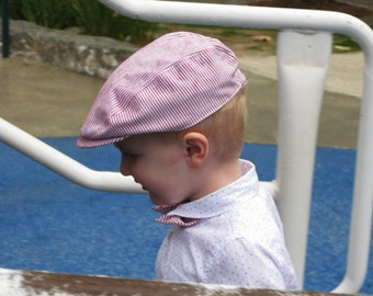 Red and white striped boys hat red toddler hat striped newsboy hat boys golfing cap- Red Rover