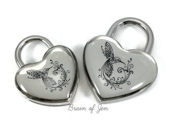 Silver Heart Padlock with Black Hummingbird You Choose Size