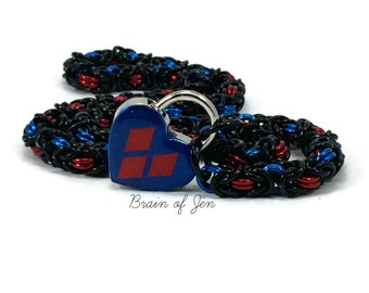 Submissive Day Collar Harley Quinn Inspired Red and Blue Heart Lock