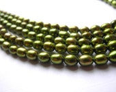 Freshwater Rice Pearls 6mm 6.5mm Olive Green Full Strand