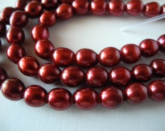 Freshwater Large Hole Rice Pearls Cranberry Red 8mm Full Strand 26 Pieces