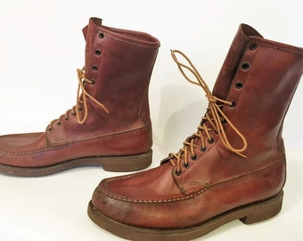 Orvis Gokey Leather Chukka Moccasin Work Hunting Sport Boot Cush N Crepe Lace Up Botte Sauvage Brown