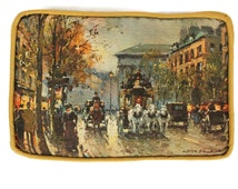 Antoine Blanchard Parisian Street Scene Painting Accent Pillow - Vintage French Throw Pillow