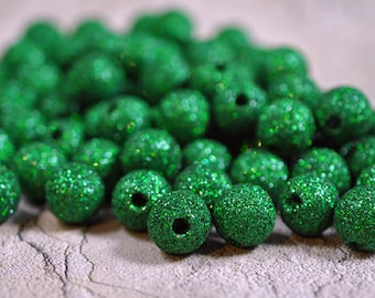 Acrylic green rounds, sparkles, 12mm - #117