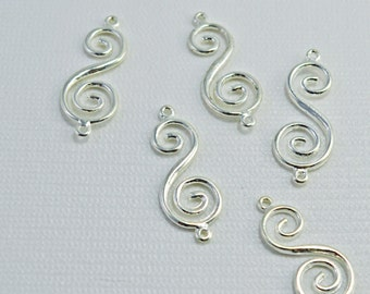 Silver plated pewter swirl link, 33x14mm - #1713