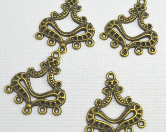 Antique brass plated pewter focals or earring components, 24mm - #1755