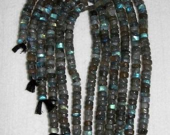 Labradorite, Labradorite Heishi, Smooth Heishi, Labradorite Rondelle, Natural Stone, Semi Precious, Spacer, Full Strand, 8 mm, AdrianasBeads