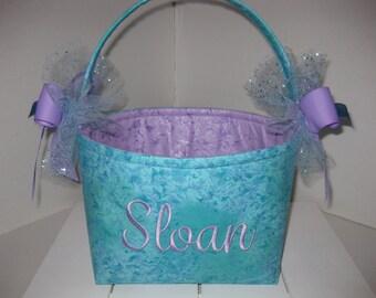 Aqua Blue Purple Mermaid Sparkle Organizer bin / Fabric Basket / Small Diaper Caddy -Personalization Available
