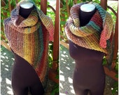 Hand Knit Shawl Stole Wrap Triangle Scarf in Earthy Shades