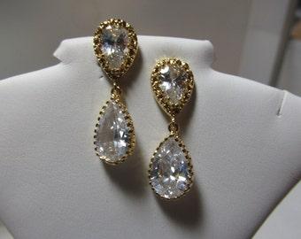 CZ Teardrop Earrings, CZ Earring, Teardrop Earring, Bride, Bridesmaid, Wedding, Drop, CZ Dangle, Statement Earring, Gold, Earring, Dangle