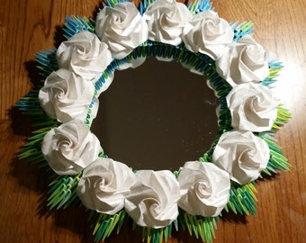 3D Origami Ombre Wreath with pearl roses and Mirror