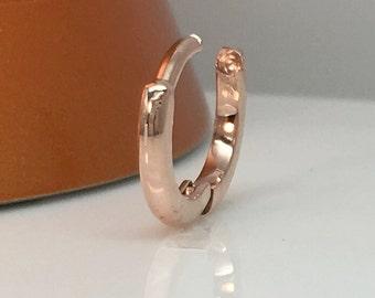 Gauge hoop earring, solid rose gold infinity hoop earring, cartilage earring gold, cartilage hoop, men's hoop earring, 16 gauge, E005SR 14K