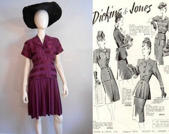 Summertime Jitterbug - Vintage 1940s WW2 Magenta Violet Damask Suit Dress - 4 Petite