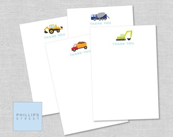printable CONSTRUCTION thank you cards - excavator, backhoe loader, dump truck, cement mixer - note card - instant download