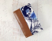 Navy Blue Peacock Feather Fabric Business Card Holder. Brown Leather Card Wallet. Business Card Case. Small Leather Wallet. READY TO SHIP