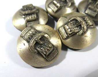 VINTAGE Buttons Belt Buckle Design Brass Metal Silver Tone Buttons Five (5) Buttons Vintage Buttons Fashion Jewelry Supplies (G128)