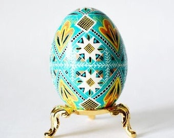 Aqua blue Turquoise Easter Egg ~ hand painted pysanka ~ buy Ukrainian eggs ~ baby boy buptism gift ~ blue Christmas gifts and ornaments