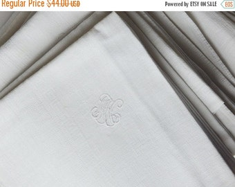 Sale 30% 10 monogrammed french napkins white fabric dish towels