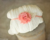 Newborn Headband and Baby Wrap Set, Ivory Cheesecloth, Organic Props, Baby Girl Prop, Newborn Props, Coral Baby Halo, Baby Props, RTS
