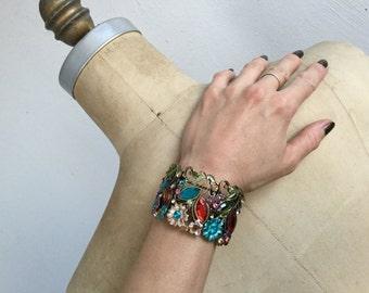 Rhinestone hinged cuff bracelet