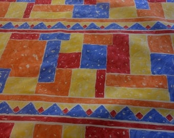 Handmade cotton print tablecloth bright primary colors, abstract, patio cloth, retro cloth 52 inches square