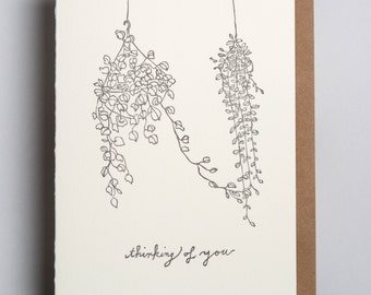 "Letterpress card,  ""thinking of you"""