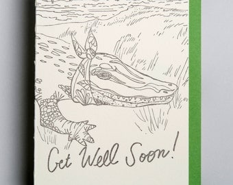 "Letterpress card,  ""Get Well Soon!!"""