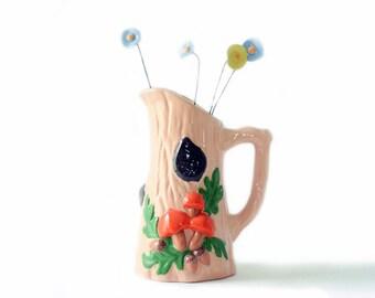 Vintage Mushroom Pitcher | Pink | Retro | Woodland | Hippie | Ceramic