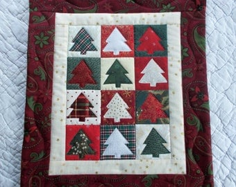 Christmas Tree Quilted  Wall Hanging
