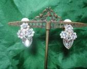 1995 Tear Drop Jeweled Rhinestone Flower Earrings.