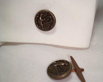 1940s Flying Fisherman Button Cufflinks.