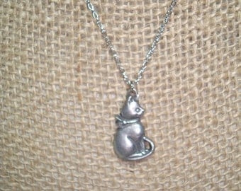 1980s Pewter Cat Necklace.