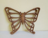 Molded Plastic Butterfly, Faux Rattan, Vintage Wall Decor, Small 3.50 each