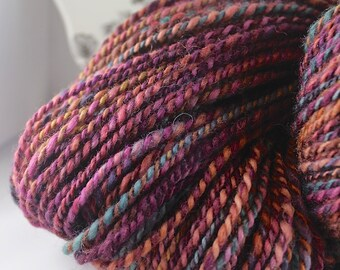 Handspun Yarn Gently Thick and Thin 2 Ply Blue Faced Leicester 'Jackies Woods'