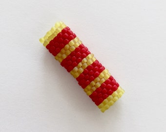 Striped Peyote Stitch Dreadlock Bead - Red and Yellow - For Small Dreads