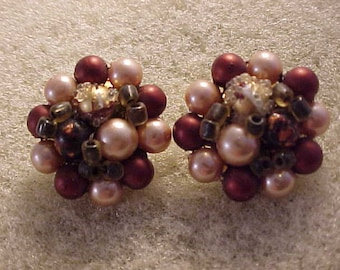 Cluster Bead Clip On Earrings Multicolor Beads