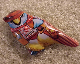 Tin Litho Bird Pin Made in Japan