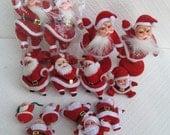Lot of Assorted Vintage Flocked Santas