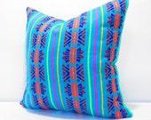 Aqua blue Pillow, Tribal Pillows Covers, Colorful Pillow Covers, Bohemian Decor, Boho Bedding, Mexican Cushion, Square, tribal pillowcase