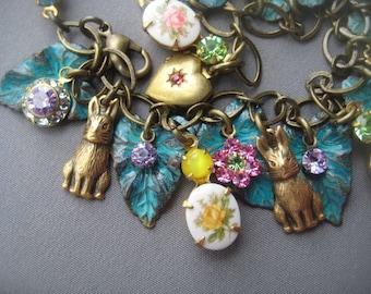 Rabbit Bracelet - Rabbit Jewelry - Charm Bracelet - Bunny Jewelry - Pastel Jewelry - Bunny Rabbit - Fairy Tale Jewelry - Woodland Creatures