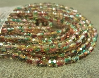 Dual Coated Orange/Teal Czech Glass Firepolish Beads 4mm Faceted Round 50pc