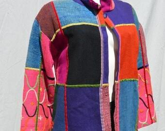 Vintage 80's GREEK patchwork ribbon trim embroidered folk jacket top sM by thekaliman