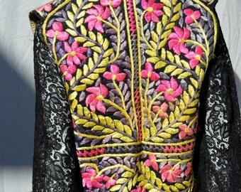 Vintage hand embroidered INDIAN hippie vest antique fabric afghan jerusalem floral design one of the kind VEST sM by thekaliman