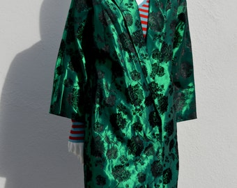 Vintage 50's green satin floral japonica christentums coat lady coat overcoat sM/L by thekaliman