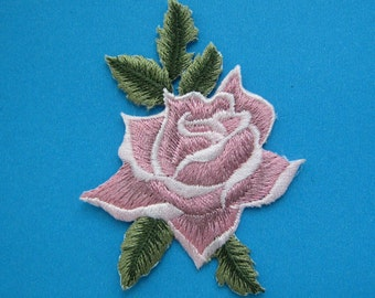 SALE~ Iron-On embroidered Patch Pink Rose 3 inch