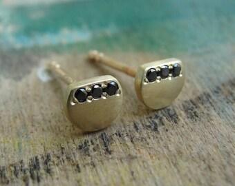 Black Diamond Nail Earrings , Black Diamond Earrings , Black Diamond Studs , Diamond Posts , Gold Stud Earrings , Tiny Gold Studs