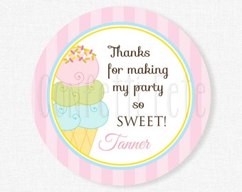 Ice Cream Party Favors, Ice Cream Favor Tags, Girl Birthday, Ice Cream Birthday, Sweet Shoppe Tag, Personalized