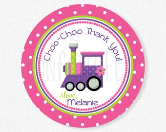 Train Favor Tag, Girl Birthday Tag, Train Party Tag, Train Party Favors, Choo Choo Thank You Tag, Purple and Pink, Personalized