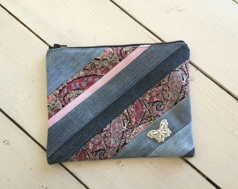 Zippered Pouch Upcycled Denim