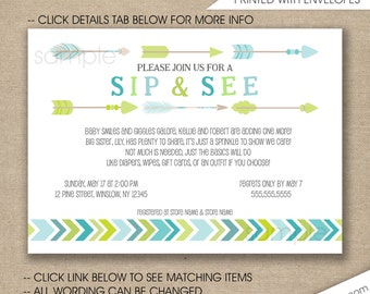 Tribal Sip and See Baby Sprinkle invitations, free shipping, boy baby shower invites, birthday party invites, digital or printed